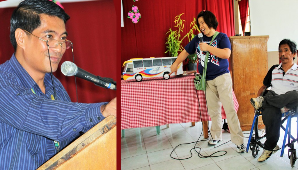 (Left to Right Photo) Person with disabilities (PWDs) from Bontoc presented their products made from recycled materials while Provincial Administrator Johny V. Lausan stressed that PWDs have skills and abilities like the normal people during the culminating activity of the 36th National Disability Prevention and Rehabilitation (NDPR) Week on August 1-2, 2014 at the Multi-purpose building, Bontoc, Mountain Province. Photo by Alpine L.Killa